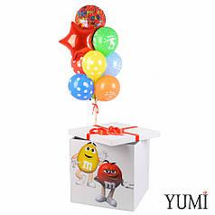 Коробка белая M&Ms, связка: круг Happy birthday, звезда красная, 8 разноцветных шаров