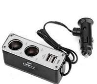 Разветвитель прикуривателя, 2 входа + 2 USB, 12/24 В