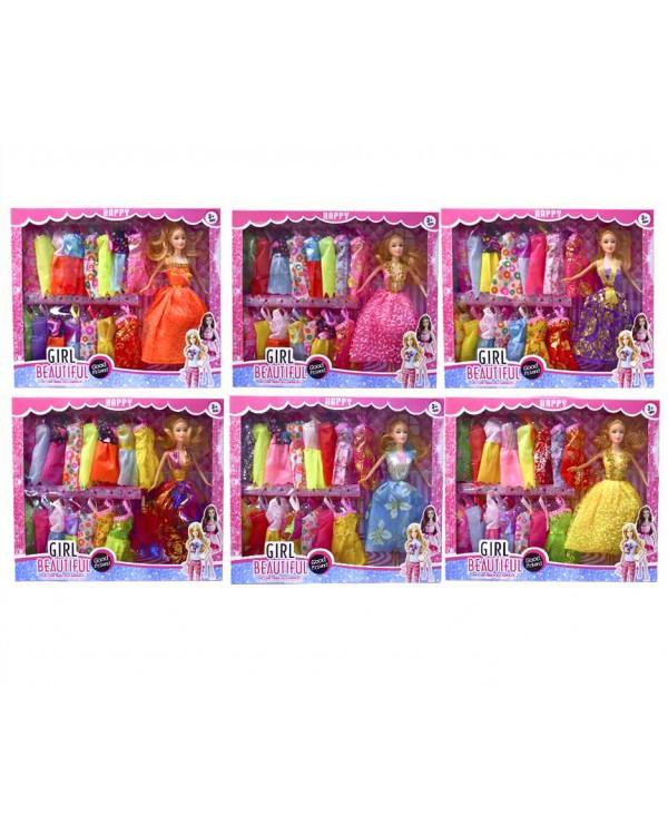 Кукла 661A3 6 видов, набор платьев, в кор. 38*6*33см