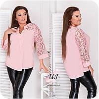 Женская батальная  блуза с гипюровыми рукавами. 4 цвета!, фото 1