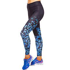 Лосины для фитнеса и йоги с принтом Domino Butterfly 1630-1 размер S-L рост 150-180, вес 40-60кг темно-синий-голубой