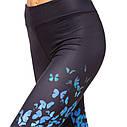 Лосины для фитнеса и йоги с принтом Domino Butterfly 1630-1 размер S-L рост 150-180, вес 40-60кг темно-синий-голубой, фото 4