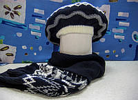 """Комплект берет и шарф для девочки """"Узор""""  р 53-56 см цвет темно-синий"""