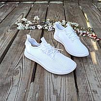 Жіночі білі кросівки сітка текстиль сліпони кеди дихаючі перфорація білі кросівки сітка аквашузы, фото 3