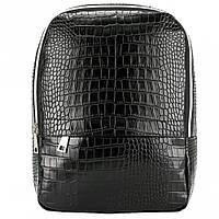 """Женский рюкзак с принтом крокодила """"Lighthouse"""" черный"""