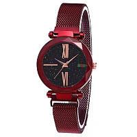 Жіночі годинники наручні Sky Watch червоні, на магнітній застібці, кварц, годинник, наручний годинник, годинники жіночі