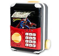 🔝 Сейф детский с электронным кодовым замком, для детей   Супермен   копилка детская с доставкой   🎁%🚚