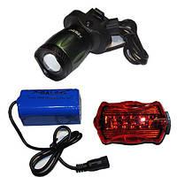 Велосипедний набір Ліхтарик для велосипеда акумуляторний BL-B02, а також задній ліхтар (фару)