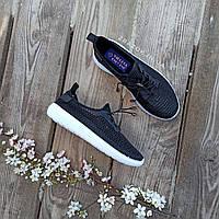 Женские черные кроссовки сетка слипоны мокасины легкие летние дышащие перфорация на резиновых шнурках