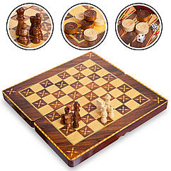 Шахматы, шашки, нарды 3 в 1 MDF 7788C (фигуры-дерево, р-р доски 39см x 39см)