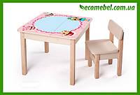 Парта - стол для девочки дошкольного возраста с ящиком + фотопечать ЛОЛ (игровой столик, мольберт, парта)