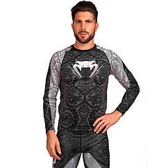 Комплект компрессионный мужской (Лонгслив и штаны) VENUM 8135-8235-GR (PL, эластан, M-3XL-165-190cм)