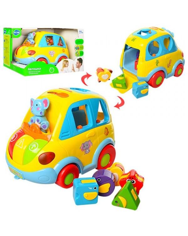"Муз разв.игрушка ""Автошка"" 9198 (896) батар., сортер-каталочка,5 фигур,звуки,в кор. 22*14см"