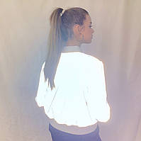 Куртка-бомбер ветровка из рефлективной ткани светоотражающая подростковая для девочки размеры 38-46