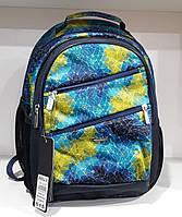 Рюкзак школьный ортопедический два отдела сине-желтый Dolly 515 Украина 30 см х 40 см х 20 см