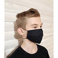Маска тканевая для детей защитная многоразовая для лица черная, трехслойная