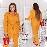 Женский батальный трикотажный брючный костюм с пояском. 5 цветов!, фото 1
