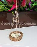 Гнездышко декоративное из соломы 7-7,5см, подвесное., фото 3