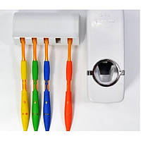 Дозатор зубной пасты с подставкой для щеток Olive пластик, для 5 щеток, белый, стакан для зубной щетки, держатель для для зубных щеток