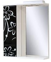 Зеркало для ванной 60-01 левое Бело-черная ромашка