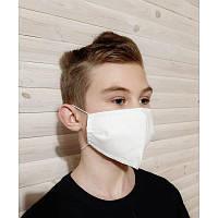 Маска тканевая для детей защитная многоразовая для лица белая, трехслойная