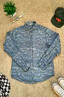 Джинсовая мужская камуфляжная рубашка