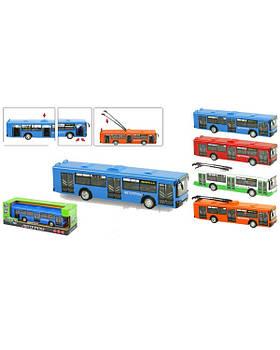 """Троллейбус, Автобус инерц. 9690ABCD """"АВТОПРОМ"""" 1:43, батар., свет, звук, в кор.32,7*10*10см"""
