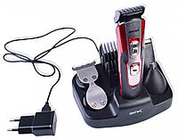 Машинка для стрижки волос Gemei Gm-592 10в1 от аккумулятора 1000mAh, четыре насадки, две скорости, триммер
