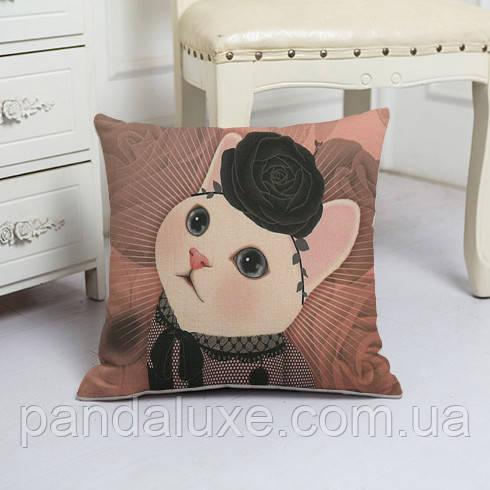 Подушка декоративная для дивана 45 х 45 см Мисс Кошка, фото 2