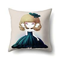 Подушка декоративная для дивана 45 х 45 см Девочка аниме колокольчики