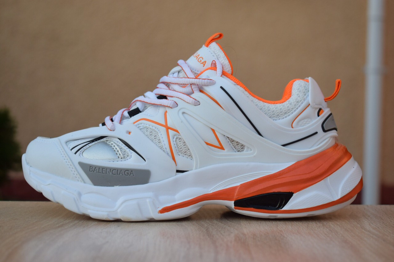 Женские кроссовки Balenciaga Track (бело-оранжевые) 2888