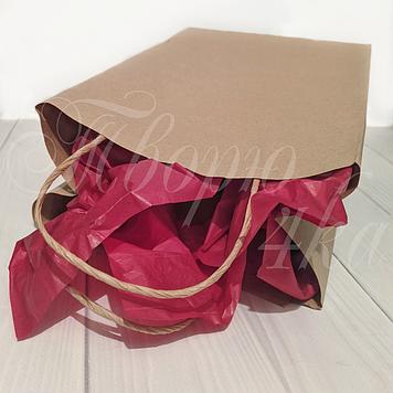 Крафт пакет бумажный с ручками 28х19х12 см бурый