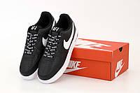 Хитовые мужские кроссовки Nike Air Force черно-белые (ТОП РЕПЛИКА), фото 1