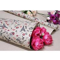 """Бумага упаковочная крафт """"Париж на буром"""" размер 70см*10м, Бумага для подарков, Бумага упаковочная, Крафт бумага"""