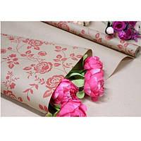 """Бумага упаковочная крафт """"Роза красная на буром"""" размер 70см*10м, Бумага для подарков, Бумага упаковочная, Крафт бумага"""