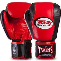 Перчатки боксерские кожаные на липучке TWINS BGVL7-2RD-BK (р-р 12-16oz, красный-черный)