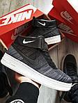 Чоловічі кросівки Nike Air Force Flyknit Hight Dark Grey (сірі) 152PL, фото 2