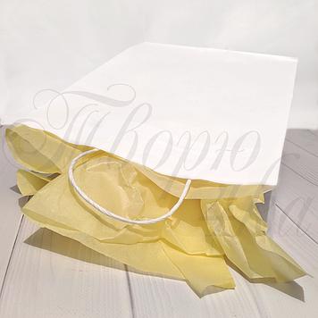 Крафт пакет бумажный с ручками 35х26х15 см белый