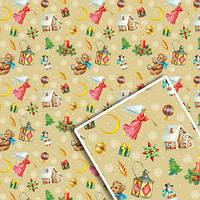 Бумага упаковочная мелованная Новогодняя размер 70х100см, в упаковке 10л, Бумага для подарков, Бумага упаковочная, Крафт бумага