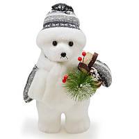 """Новогодняя фигура Магічна-Новорічна """"Полярный медведь"""" 28см, ПВХ/полиэстер, игрушка на елку, новогодние украшения, игрушки под елку"""