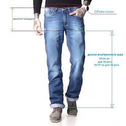 Таблица размеров мужских джинсов
