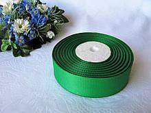 Репс однотонний бобіна. Колір зелений. Ширина 2.5 см