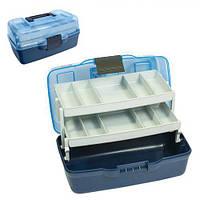 Ящик для снастей Plum двухъярусный, с непрозрачной крышкой, размер 30,5х18,5х15см, пластик, рыболовный ящик, ящик на рыбалку