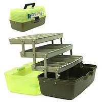 Ящик для снастей AQT-1703, 3 яруса, с непрозрачной крышкой, размер 36*21.5*19.5см, пластик, рыболовный ящик, ящик для рыбалки