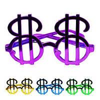 "Очки ""Доллар"" B05801, размер 13см, 24шт/уп (цена за 1 шт), цвета ассорти, пласти, очки пластиковые, очки декоративные"