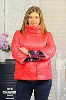 Куртка ВЕСНА съемные манжеты и капюшон, плащевка «лаке» с хлопком, утеплитель — холофайбер р. 44 код 3040М
