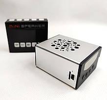 Портативная колонка акустика для телефона мини с флешкой радио серебро KS370, фото 2