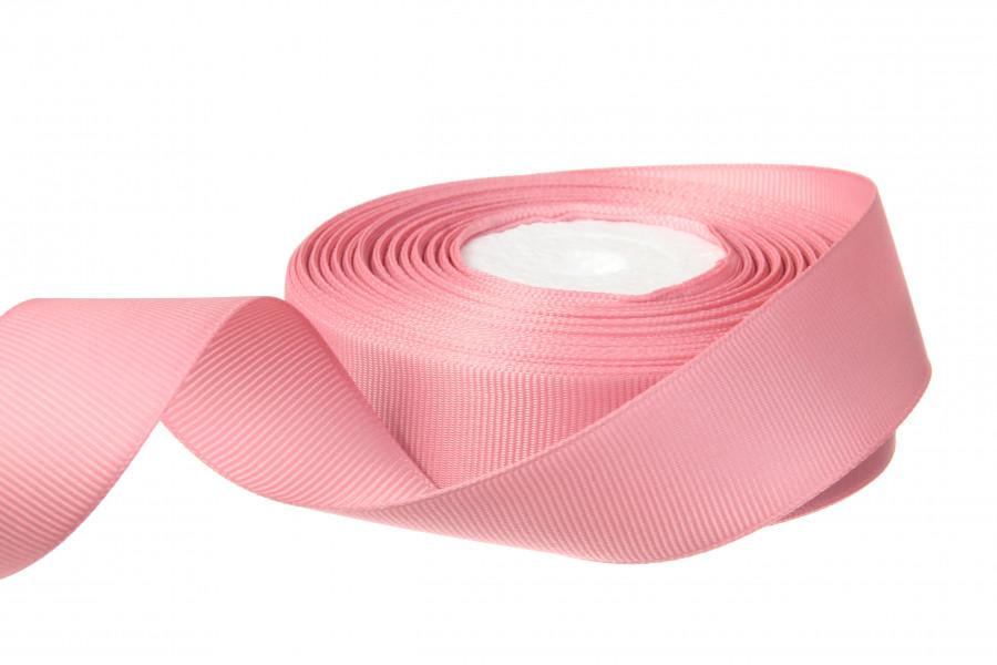 Репс однотонный бобина. Цвет розовый.  Ширина 2.5 см
