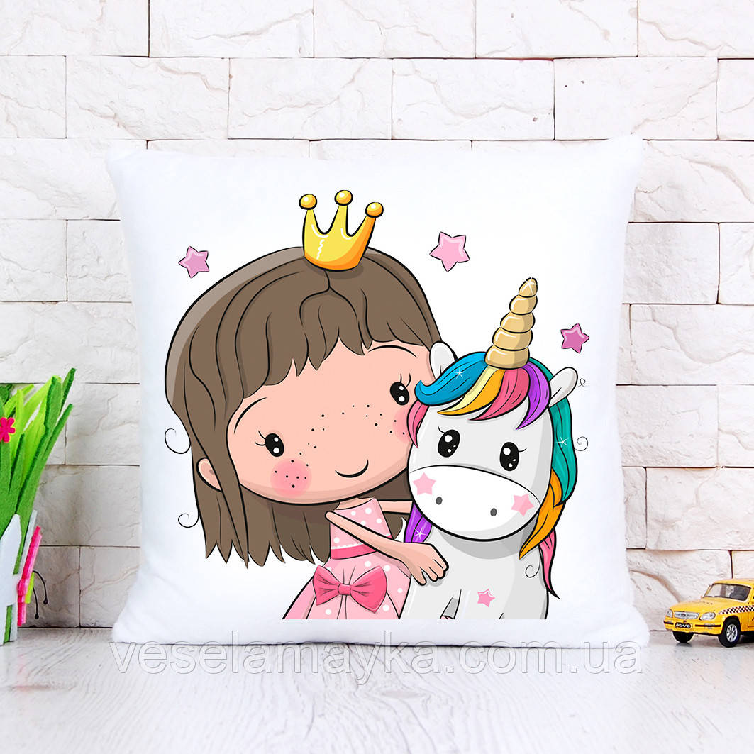Детская подушка Единорог и девочка