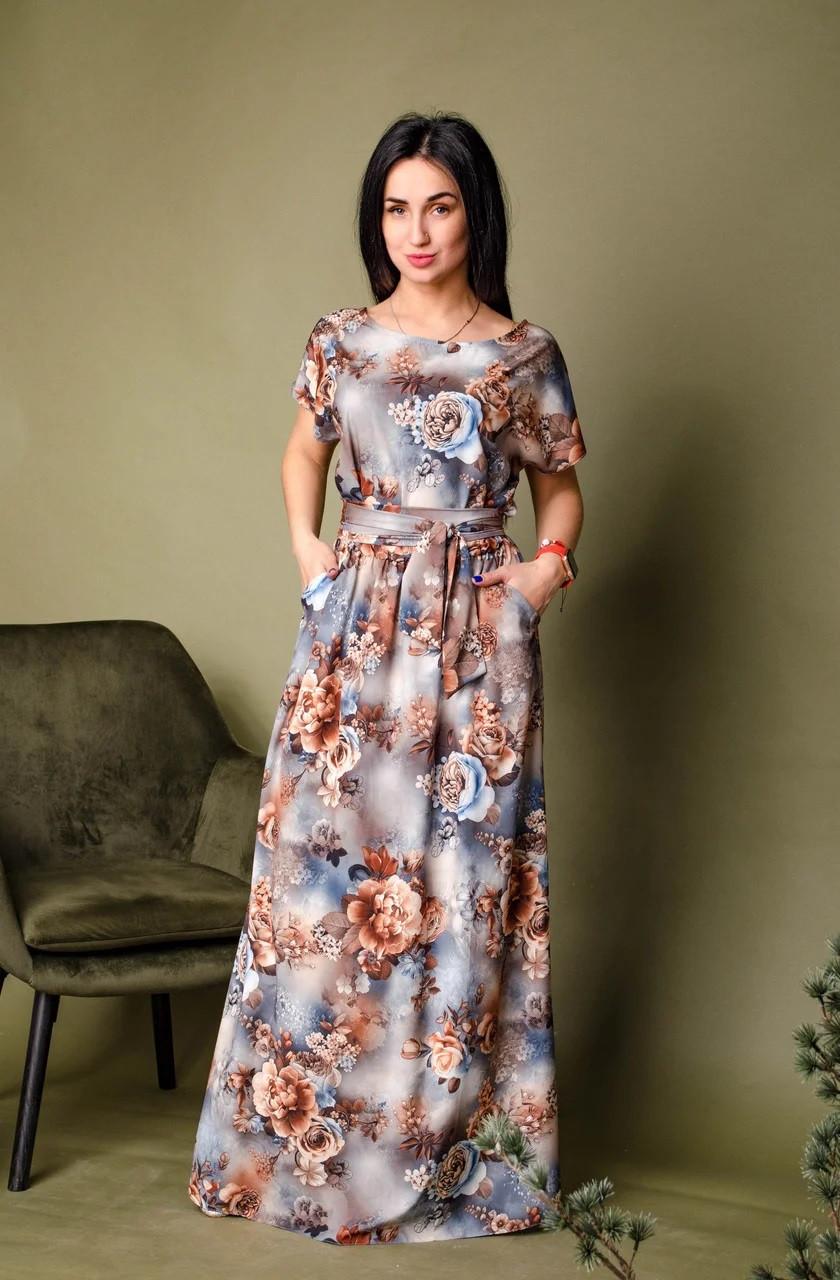 Длинное платье с цветочным принтом серо-синее